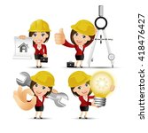 people set   profession  ... | Shutterstock .eps vector #418476427