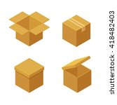 boxes and packaging icon set.... | Shutterstock .eps vector #418482403