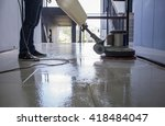 silhouette cleaning floor with... | Shutterstock . vector #418484047