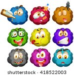 facial expressions on fluffy... | Shutterstock .eps vector #418522003