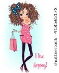 cute fashion cartoon girl  | Shutterstock .eps vector #418565173