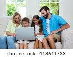 smiling children with parents... | Shutterstock . vector #418611733