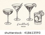 set of hand drawn alcoholic... | Shutterstock .eps vector #418613593