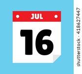 calendar icon flat july 16