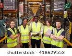 warehouse staff group portrait  ...   Shutterstock . vector #418629553