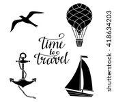 travels black silhouettes set... | Shutterstock .eps vector #418634203