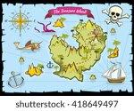 vector pirate treasure color... | Shutterstock .eps vector #418649497