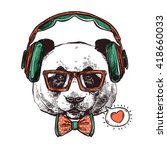 hipster portrait panda with... | Shutterstock .eps vector #418660033