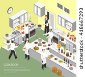 restaurant cooking room with...   Shutterstock .eps vector #418667293