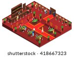 Casino Isometric Interior With...