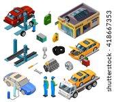car service isometric...   Shutterstock .eps vector #418667353