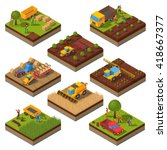 isometric set with isolated... | Shutterstock .eps vector #418667377