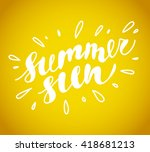 vector hand drawn summer card.... | Shutterstock .eps vector #418681213