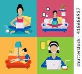 women working freelance set of...   Shutterstock .eps vector #418686937