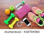 fitness equipment fruit ... | Shutterstock . vector #418704583