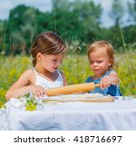 two little girls working... | Shutterstock . vector #418716697