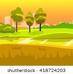 cartoon desert landscape ... | Shutterstock .eps vector #418724203