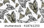butterfly and moth hand drawn... | Shutterstock .eps vector #418761253