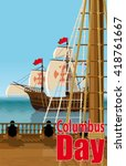 columbus day. the view from the ... | Shutterstock .eps vector #418761667