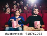 a friend of stealing popcorn in ... | Shutterstock . vector #418762033