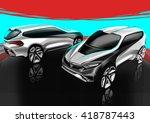 car sketch design | Shutterstock . vector #418787443