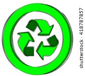 doodle of a green recycle sign | Shutterstock .eps vector #418787857