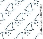 shark fin in water waves... | Shutterstock .eps vector #418793047