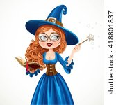 beautiful witch wearing in blue ... | Shutterstock .eps vector #418801837