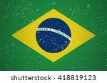 brazilian flag with grunge... | Shutterstock .eps vector #418819123