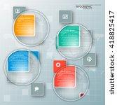 vector abstract 3d paper... | Shutterstock .eps vector #418825417