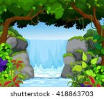 waterfall with landscape view...   Shutterstock .eps vector #418863703