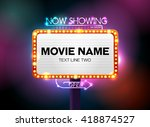 theater sign and neon light ... | Shutterstock .eps vector #418874527