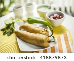 indian stuffed green pepper... | Shutterstock . vector #418879873