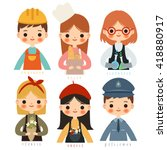 set of six childrens with... | Shutterstock .eps vector #418880917