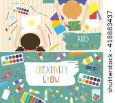 kids art working process. kids... | Shutterstock .eps vector #418883437