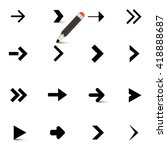 Arrows Icons Set With Pencil...