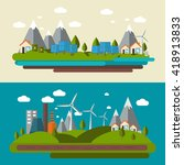 two flat ecology banner set... | Shutterstock .eps vector #418913833