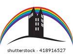 logo with dark skyscraper and...
