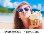 portrait of woman in bikini... | Shutterstock . vector #418930183