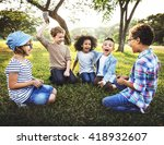 kids playing cheerful park... | Shutterstock . vector #418932607
