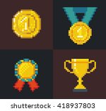 set of pixel awards and trophy