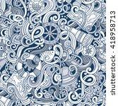 cartoon hand drawn nautical... | Shutterstock .eps vector #418958713