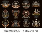 Pirate Color Logos With Skulls...