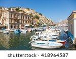 symi  greece   september 6 2015 ... | Shutterstock . vector #418964587