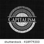 capitalism chalkboard emblem on ... | Shutterstock .eps vector #418979203