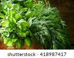 spicy herbs  green basil  mint  ... | Shutterstock . vector #418987417