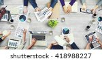 office busy meeting colleagues... | Shutterstock . vector #418988227