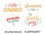 colorful summer hand lettering... | Shutterstock .eps vector #418993897