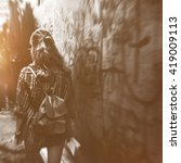 Small photo of Girl Adventure Traveling Holiday Walking Alleyway Concept