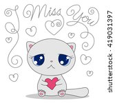 cute cartoon cat with heart and ... | Shutterstock . vector #419031397